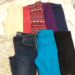 Lot of Girls Leggings and Jeans. Size 6 and 7.